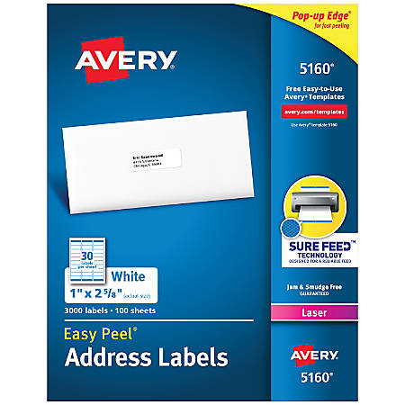 """Avery® Easy Peel® Permanent Laser Address Labels, 1"""" x 2 5/8"""", FSC® Certified, White, Pack Of 3,000"""