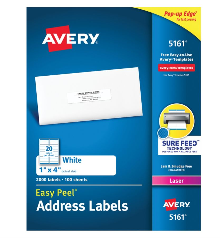 Avery Easy Peel Permanent Laser Address Labels 1 x 4 FSC Certified