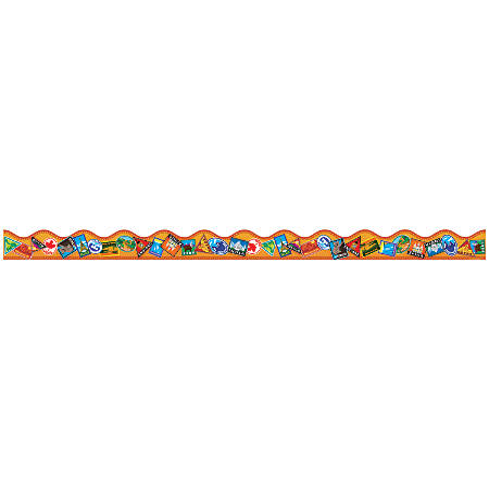 """Scholastic Teacher's Friend Scalloped Trimmers, 2 1/4"""" x 36"""", Around The World, Pre-K - Grade 5, Pack Of 12"""