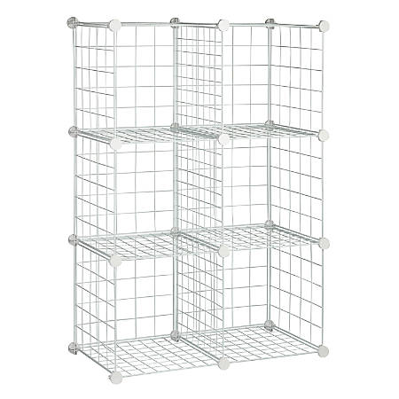 """Honey-Can-Do Modular Mesh Storage Cubes, 44 3/4""""H x 30 1/4""""W x 14 1/2""""D, White, Pack Of 6"""