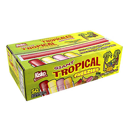 Kisko Freezies Freeze Pops, Giant Tropical, 5.5 Oz, Box Of 50, Assorted