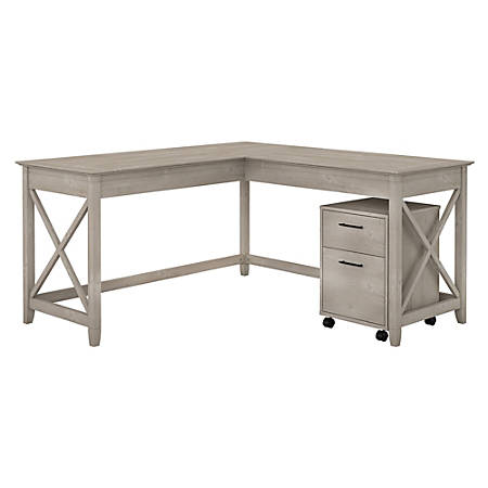 "Bush Furniture Key West 60""W L Shaped Desk with Mobile File Cabinet, Washed Gray, Standard Delivery"