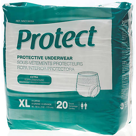 """Protect Extra Protection Protective Underwear, X-Large, 56 - 68"""", White, Bag Of 20"""