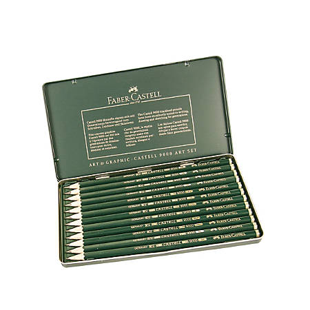 Faber-Castell 9000 Graphite Sketch Pencils, 5B - 5H, Design, Set Of 12