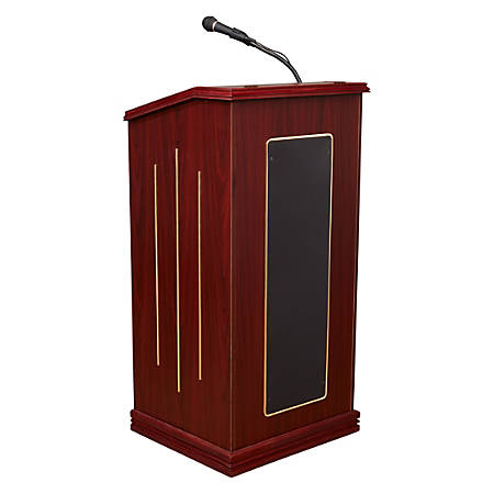 Oklahoma Sound® Prestige Sound Lectern With Wireless Tie Clip/Lavalier Microphone, Mahogany