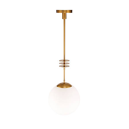 "Southern Enterprises Matz Pendant Lamp, 37-3/4""H, Opaque White Shade/Antique Bronze Base"