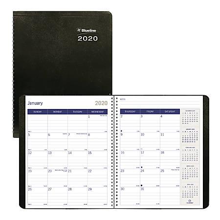 "Blueline® DuraGlobe 14-Month Planner, 8-7/8"" x 7-1/8"", Black, December 2019 to January 2021"