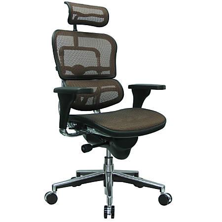 "Raynor® Ergohuman High-Back Mesh Chair, 52""H x 26 1/2""D, Chrome Frame, Orange Mesh Fabric"