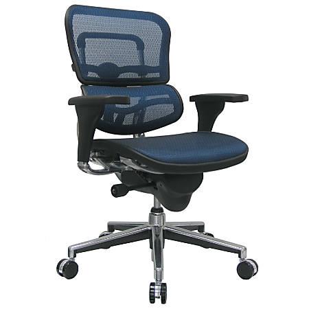 "Raynor® Ergohuman Mid-Back Mesh Chair, 45 1/2""H x 26 1/2""W, Chrome Frame, Blue Mesh Fabric"