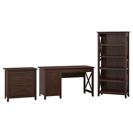 """Bush Furniture Key West 54""""W Computer Desk With Storage, 2 Drawer Lateral File Cabinet And 5 Shelf Bookcase, Bing Cherry, Standard Delivery"""