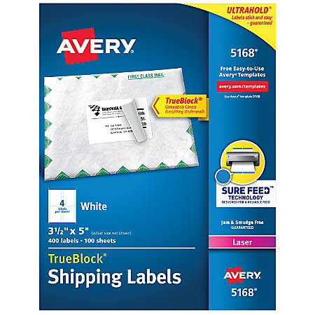 """Avery® TrueBlock® White Laser Shipping Labels, 5168, 3 1/2"""" x 5"""", Pack Of 400"""