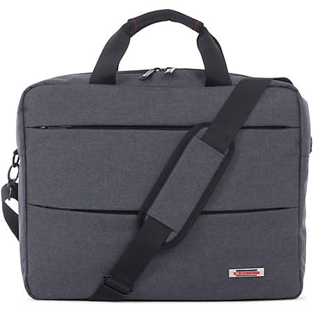 """Swiss Mobility Carrying Case (Briefcase) for 15.6"""" Notebook - Gray - Bump Resistant Interior, Scratch Resistant Interior - Handle - 16.5"""" Height x 3.5"""" Width x 13.5"""" Depth"""