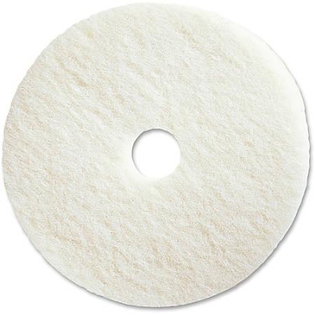 "Genuine Joe Polishing Floor Pad - 20"" Diameter - 5/Carton x 20"" Diameter x 1"" Thickness - Fiber - White"