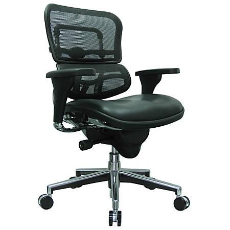 "Eurotech Ergohuman Mid-Back Mesh/Leather Chair, 45 1/2""H x 26 1/2""W x 29""D, Chrome Frame, Black Leather Seat/Black Mesh Back"