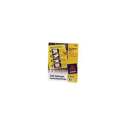 """Avery® Self-Adhesive Laminating Sheets, 9"""" x 12"""", Box Of 50"""