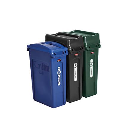 Rubbermaid® Slim Jim Rectangular Plastic Wastebasket, 69 Gallons, Multicolor