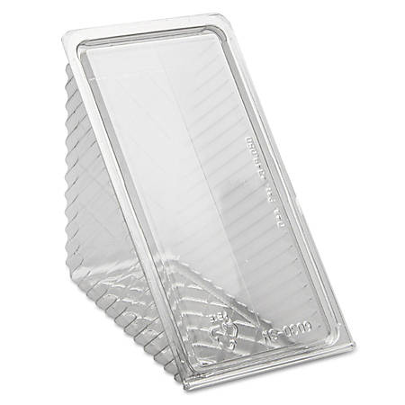 Pactiv Hinged-Lid Sandwich Wedges, Clear, 85 Wedges Per Pack, Case Of 3 Packs