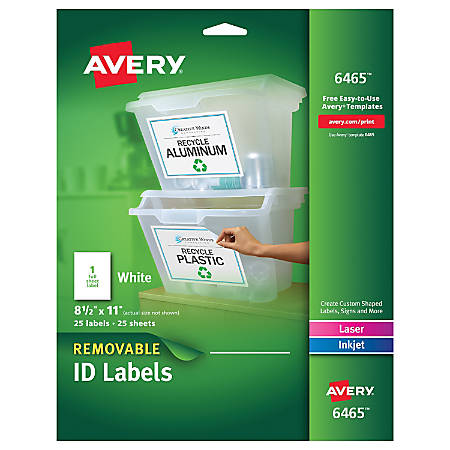 "Avery® Permanent Full-Sheet Labels, 6465, Inkjet/Laser, 8 1/2"" x 11"", White, Box Of 25"