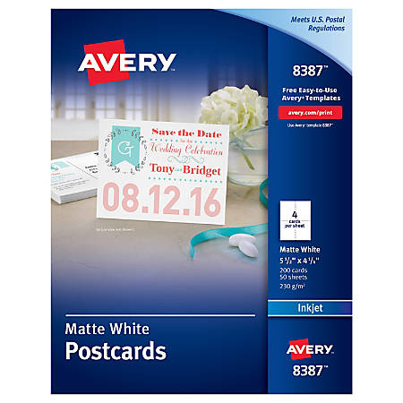 avery inkjet postcards 4 14 x 5 12 matte white box of 200 by office