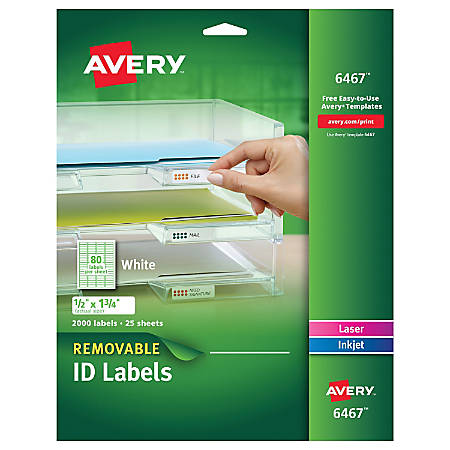 "Avery® Removable Laser/Inkjet ID Labels, 6467, Multipurpose, 1/2"" x 1 3/4"", White, Pack Of 2,000"