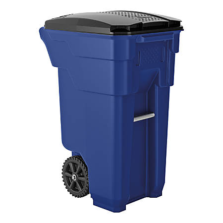 """Suncast Commercial Wheeled Square HDPE Trash Can, 32 Gallons, 36""""H x 20""""W x 26""""D, Blue"""