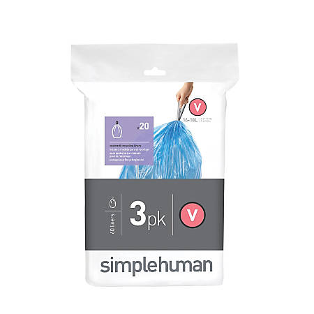 simplehuman Custom-Fit 0.03-mil Can Liners, 4.2 - 4.8 Gallons, Blue, Pack Of 240