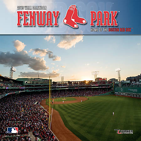 """Turner Sports Monthly Wall Calendar, 12"""" x 12"""", Boston Red Sox Fenway Park, January to December 2019"""