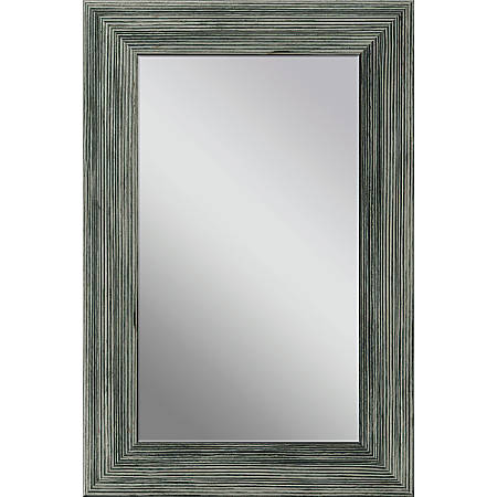 """PTM Images Framed Mirror, Wooden, 36""""H x 24""""W, Stone Gray"""