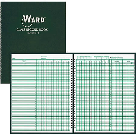 "Ward Hubbard Comp. Class Record Book - Wire Bound - 8 1/2"" x 11"" Sheet Size - White Sheet(s) - Dark Green Cover - 1 Each"