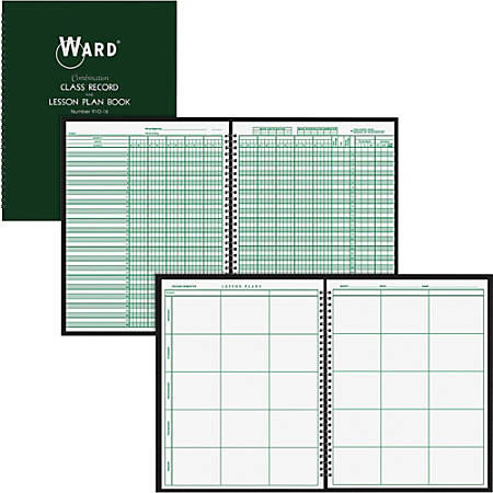 "Ward Hubbard Comp. 9-Wk Record/6 Period Lesson Plan Bk - Wire Bound - 8 1/2"" x 11"" Sheet Size - White Sheet(s) - Dark Green Cover - 1 Each"