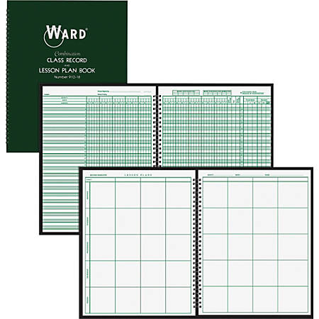 "Ward Combo Teacher's Record/Planning Book - Wire Bound - 8 1/2"" x 11"" Sheet Size - White Sheet(s) - Green Cover - 1 Each"