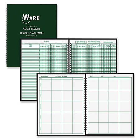 """Ward Combo Teacher's Record/Planning Book - Wire Bound - 8 1/2"""" x 11"""" Sheet Size - White Sheet(s) - Green Cover - 1 Each"""