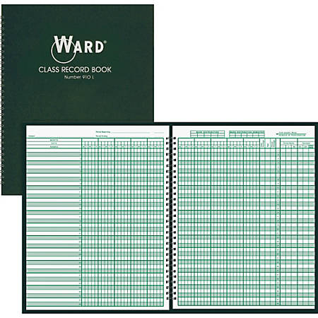 "Ward Hubbard Comp. Teacher's 9-10 Wk Class Record Book - Wire Bound - 8 1/2"" x 11"" Sheet Size - White Sheet(s) - Green Print Color - Green Cover - 1 Each"