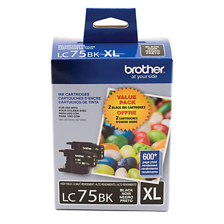 Brother® LC75BK High-Yield Black Ink Cartridges, Pack Of 2