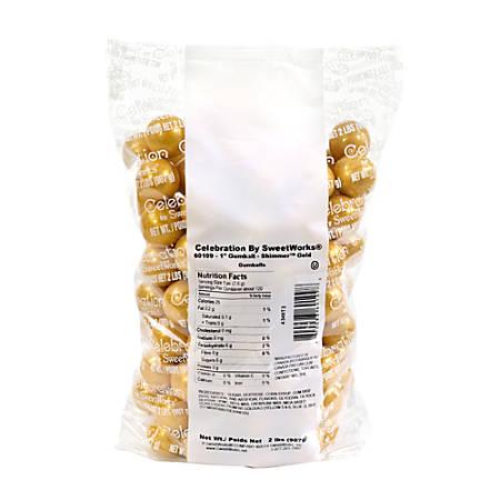 Sweetworks Gumballs, 2-Lb Bag, Gold Shimmer