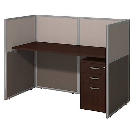 "Bush Business Furniture Easy Office Straight Desk Closed Office With 3-Drawer Mobile Pedestal, 44 15/16""H x 61 1/16""W x 30 9/16""D, Mocha Cherry"