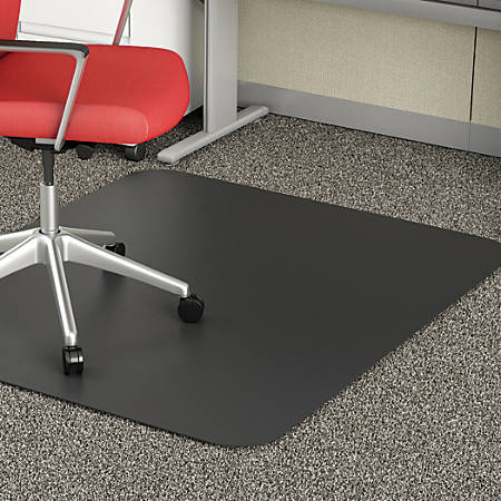 "Deflect-O Chair Mat For Medium-Pile Carpet, Rectangular, 36""W x 48""D, Black"