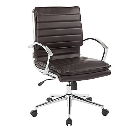 Office Star™ Pro-Line II™ SPX Series Bonded Leather Mid-Back Chair, Espresso/Chrome
