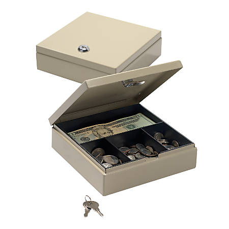 "Office Depot® Brand Small Locking Cash Box, 2 1/8""H x 6 7/8""W x 7 11/16""D, Sand"