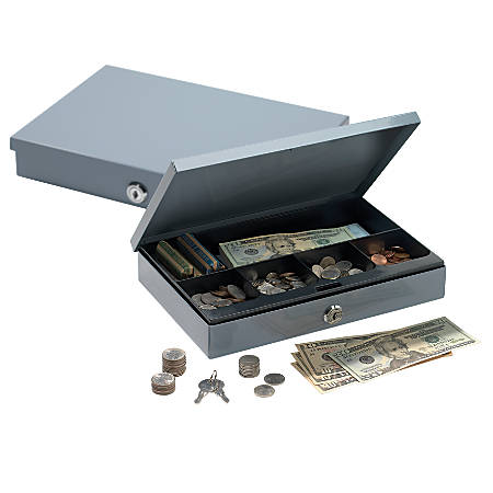 """Office Depot® Brand Ultra-Slim Cash Box With Security Lock, 2""""H x 11 1/4""""W x 7 1/2""""D, Gray"""