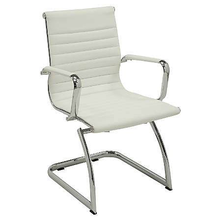 Lorell® Modern Series Mid-Back Bonded Leather Guest Chair, White, Set Of 2