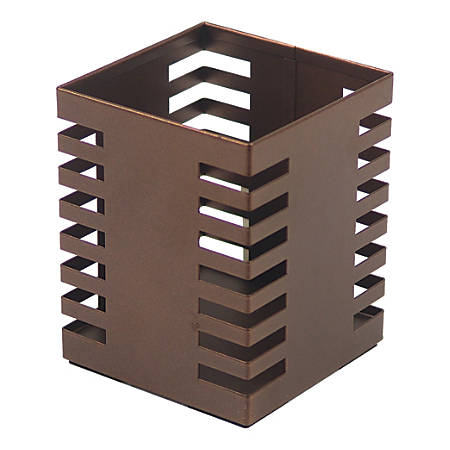Lorell® Stamped Metal Square Pencil Cup, Bronze