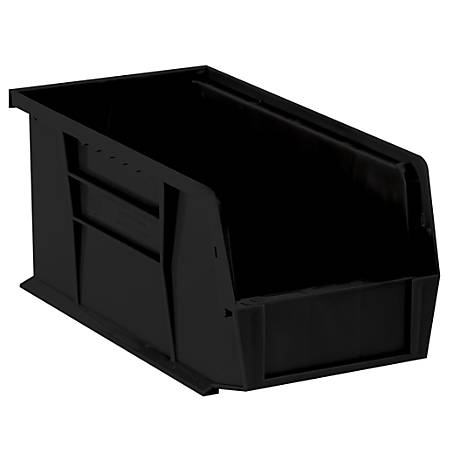 "Office Depot® Brand Plastic Stack And Hang Bin Boxes, 10 7/8"" x 5 1/2"" x 5"", Black, Pack Of 12"