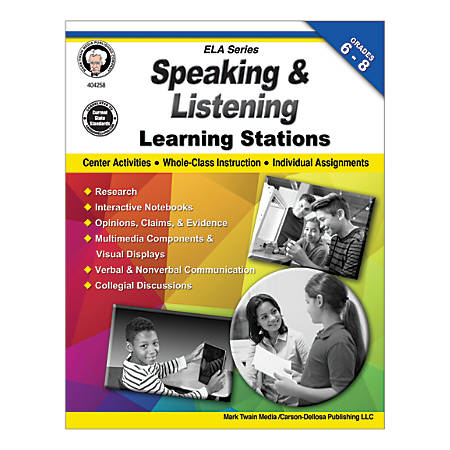 Mark Twain Media Speaking And Listening Learning Stations, Grades 6-8