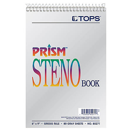 "TOPS™ Prism+™ Color Steno Notebooks, 6"" x 9"", Gregg Ruled, 30% Recycled, 80 Sheets, Gray, Pack Of 4"