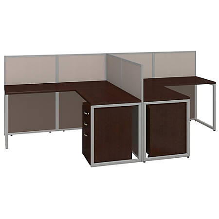 """Bush® Business Furniture Easy Office 2-Person L Desk Open Office With Two 3-Drawer Mobile Pedestals, 44 7/8""""H x 60 1/25""""W x 119 9/10""""D, Mocha Cherry, Premium Delivery"""