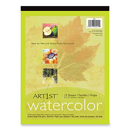 """Pacon® Student-Grade Watercolor Paper, 9"""" x 12"""", White, 12 Sheets"""