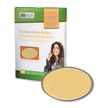 "The Mighty Badge™ Reusable Oval Name Badge Kit, 2 3/5"" x 1 7/10"", Gold, Pack Of 100"