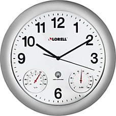 Lorell Analog TemperatureHumidity Wall Clock Analog
