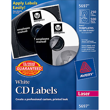 Avery® CD Labels, AVE5697, Removable Adhesive, Circle, Laser, White, 2 Per Sheet, Pack Of 250